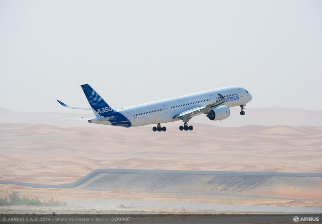 Airbus A350  A350_msn3_hot_weather_trial_at_al_ain-take_off